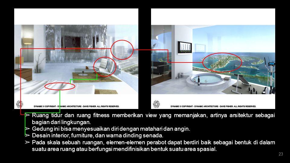 22 ➢ Dinding penyekat ruang luar dan dalam dari material kaca milton. ➢ Mempertegas atau membedakan ruang-ruang yang berdekatan dengan penggantian mat