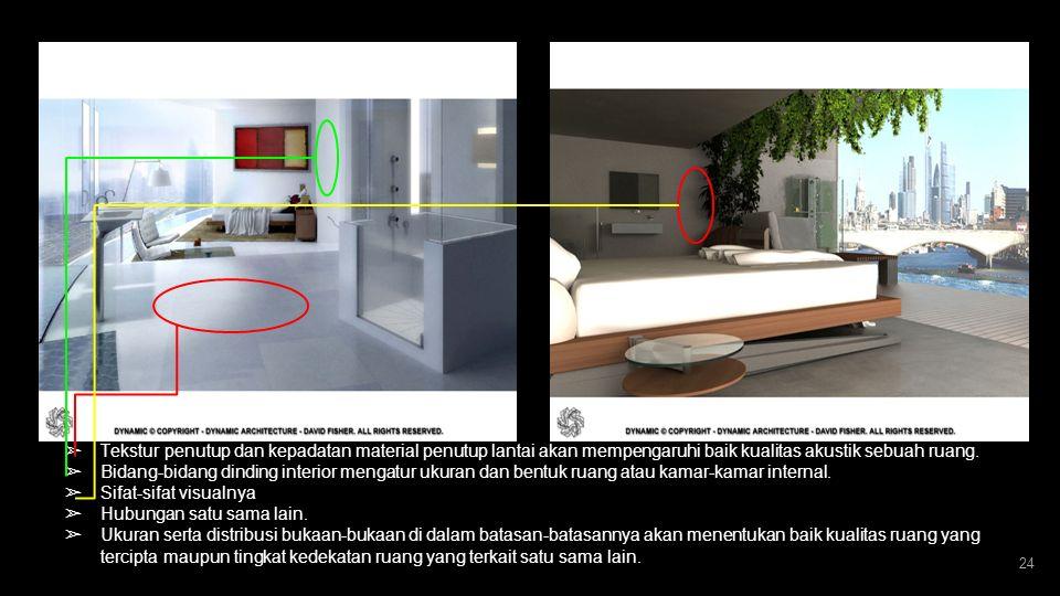 23 ➢ Ruang tidur dan ruang fitness memberikan view yang memanjakan, artinya arsitektur sebagai bagian dari lingkungan. ➢ Gedung ini bisa menyesuaikan