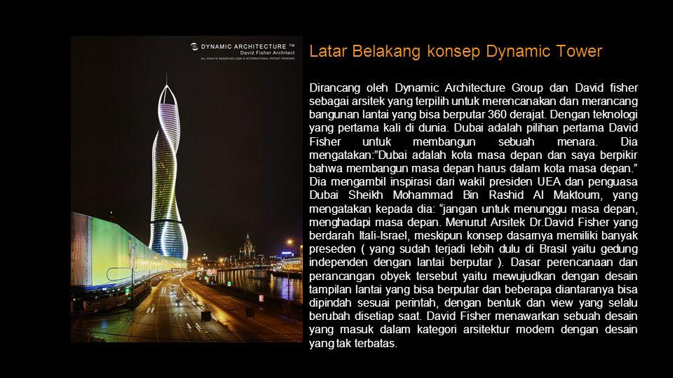 4 David fisher Pengenalan Bangunan Dynamic Tower Fase / gaya : Arsitektur Modern Lokasi: Dubai, Uni Emirat Arab Fungsi:Office, hotel, Residential Ting