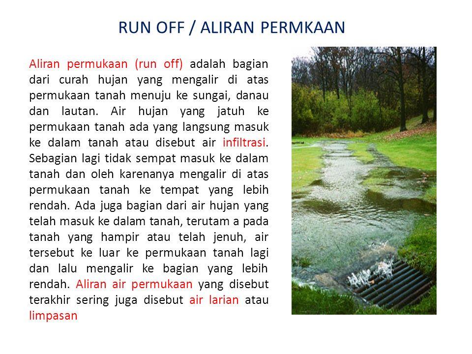 Aliran permukaan (run off) adalah bagian dari curah hujan yang mengalir di atas permukaan tanah menuju ke sungai, danau dan lautan. Air hujan yang jat