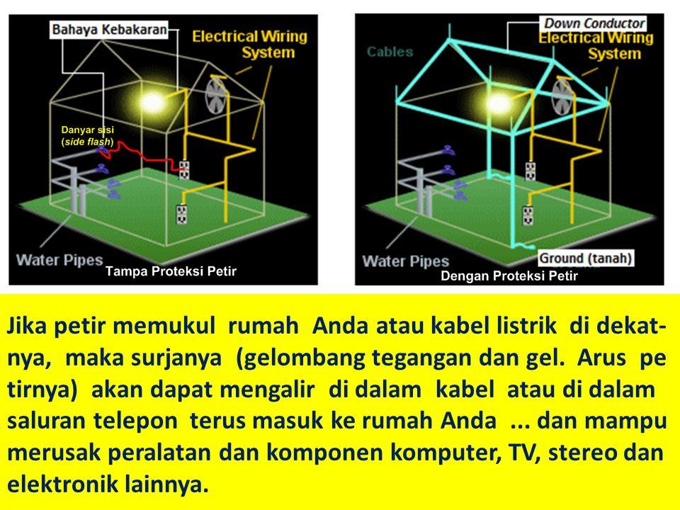 Jika petir memukul rumah Anda atau kabel listrik di dekat- nya, maka surjanya (gelombang tegangan dan gel.