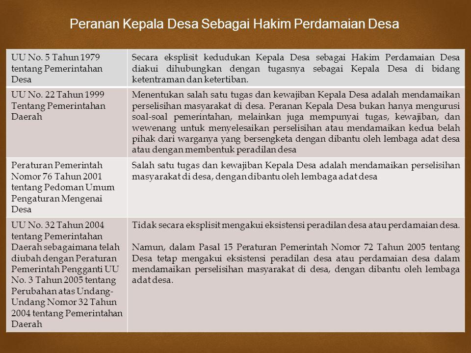  UU No. 5 Tahun 1979 tentang Pemerintahan Desa Secara eksplisit kedudukan Kepala Desa sebagai Hakim Perdamaian Desa diakui dihubungkan dengan tugasny