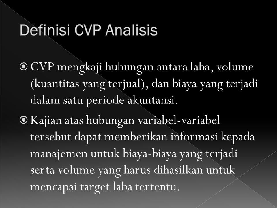  CVP mengkaji hubungan antara laba, volume (kuantitas yang terjual), dan biaya yang terjadi dalam satu periode akuntansi.  Kajian atas hubungan vari