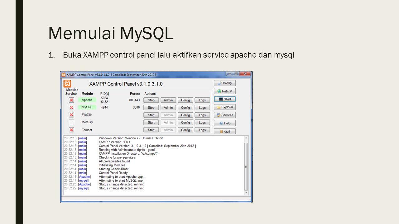 Memulai MySQL 1.Buka XAMPP control panel lalu aktifkan service apache dan mysql