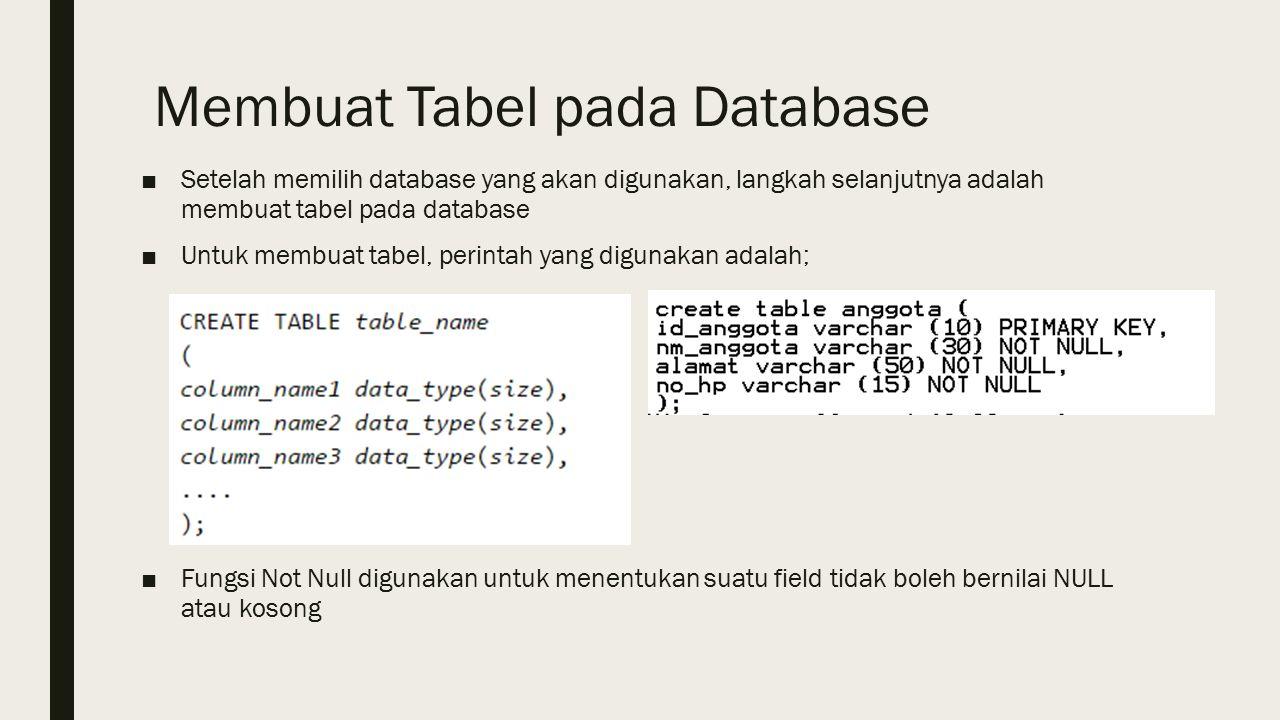 Membuat Tabel pada Database ■Setelah memilih database yang akan digunakan, langkah selanjutnya adalah membuat tabel pada database ■Untuk membuat tabel, perintah yang digunakan adalah; ■Fungsi Not Null digunakan untuk menentukan suatu field tidak boleh bernilai NULL atau kosong