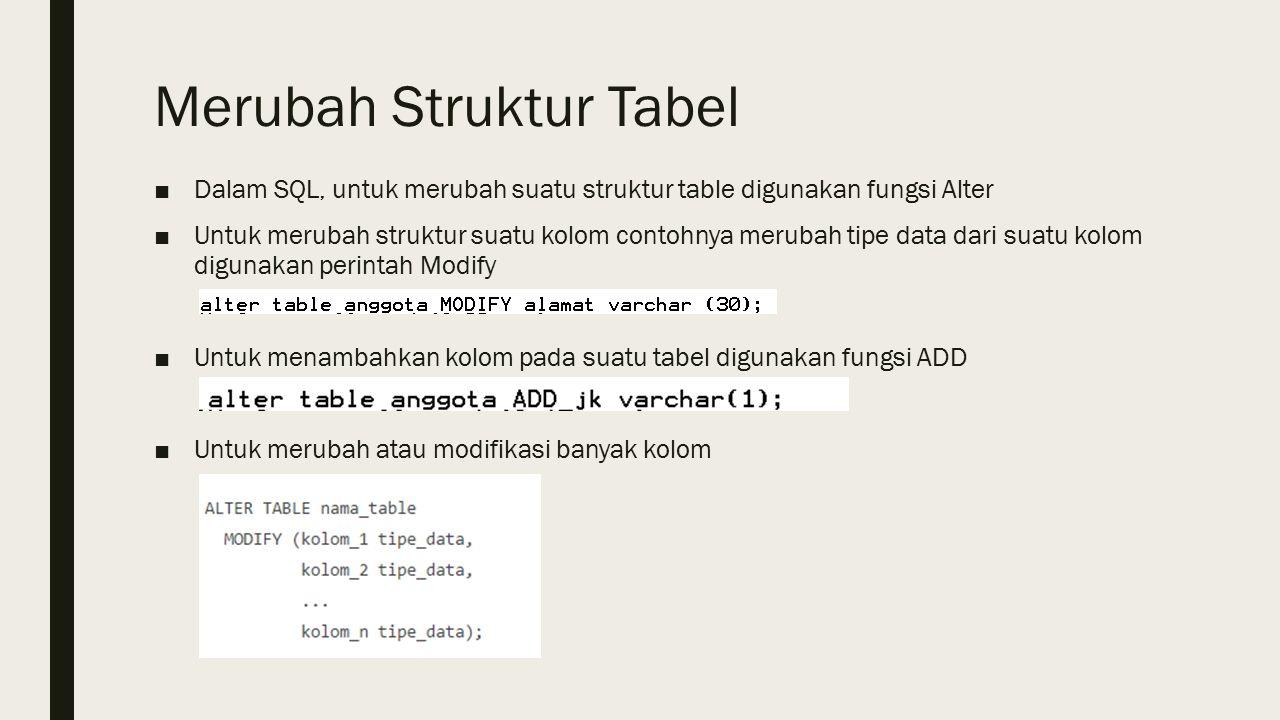 Merubah Struktur Tabel ■Dalam SQL, untuk merubah suatu struktur table digunakan fungsi Alter ■Untuk merubah struktur suatu kolom contohnya merubah tipe data dari suatu kolom digunakan perintah Modify ■Untuk menambahkan kolom pada suatu tabel digunakan fungsi ADD ■Untuk merubah atau modifikasi banyak kolom