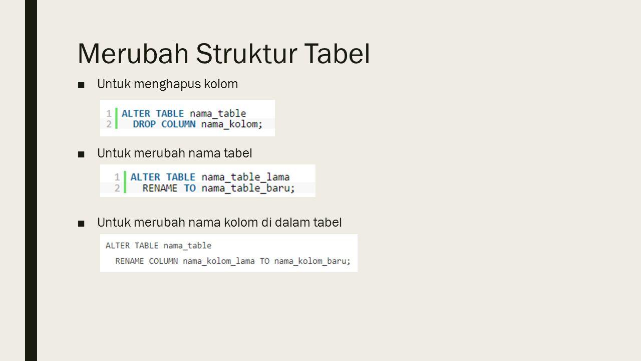 Merubah Struktur Tabel ■Untuk menghapus kolom ■Untuk merubah nama tabel ■Untuk merubah nama kolom di dalam tabel
