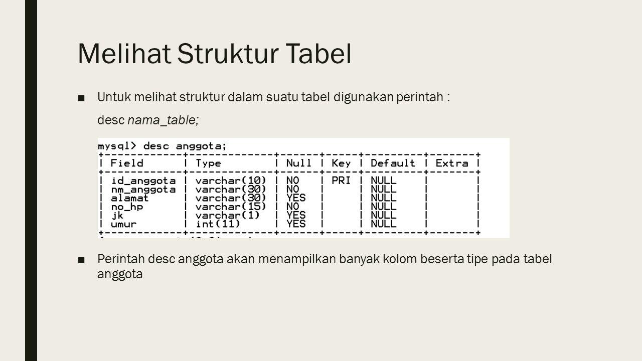 Melihat Struktur Tabel ■Untuk melihat struktur dalam suatu tabel digunakan perintah : desc nama_table; ■Perintah desc anggota akan menampilkan banyak kolom beserta tipe pada tabel anggota