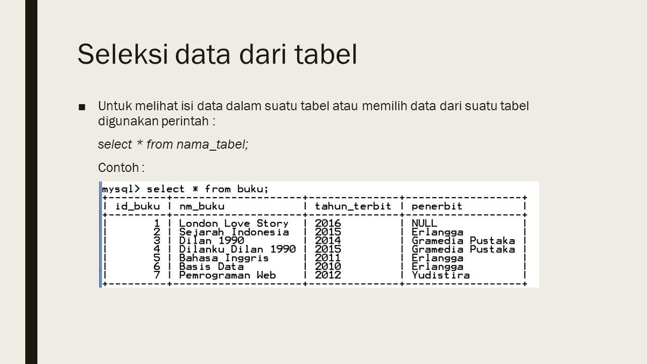 Seleksi data dari tabel ■Untuk melihat isi data dalam suatu tabel atau memilih data dari suatu tabel digunakan perintah : select * from nama_tabel; Contoh :