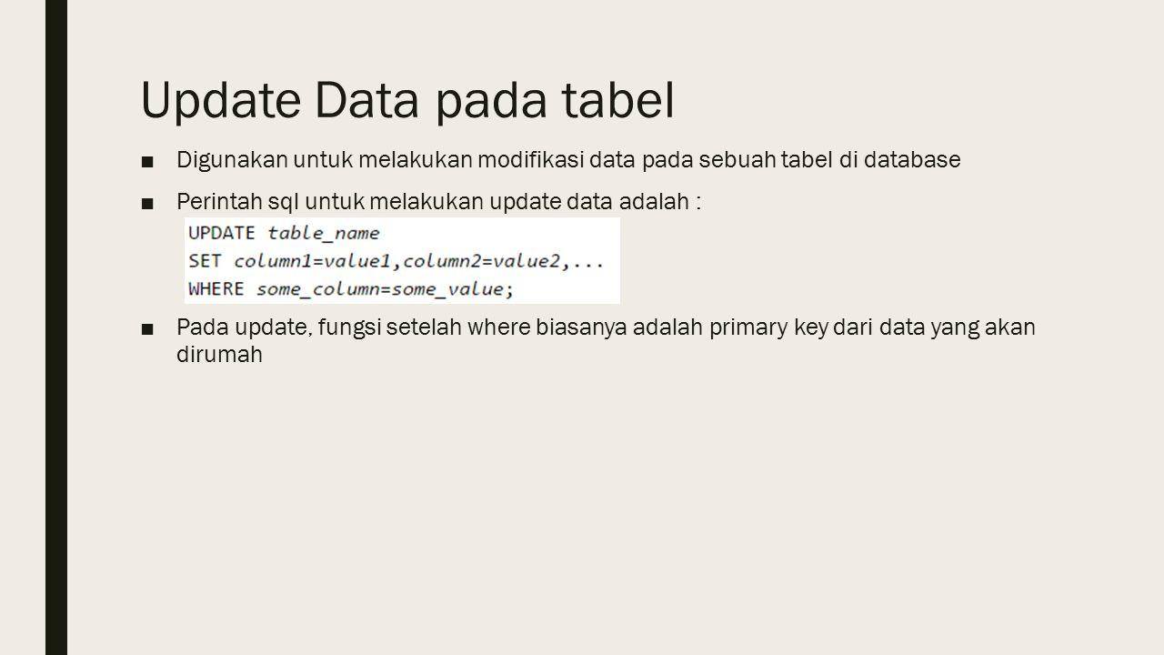 Update Data pada tabel ■Digunakan untuk melakukan modifikasi data pada sebuah tabel di database ■Perintah sql untuk melakukan update data adalah : ■Pada update, fungsi setelah where biasanya adalah primary key dari data yang akan dirumah