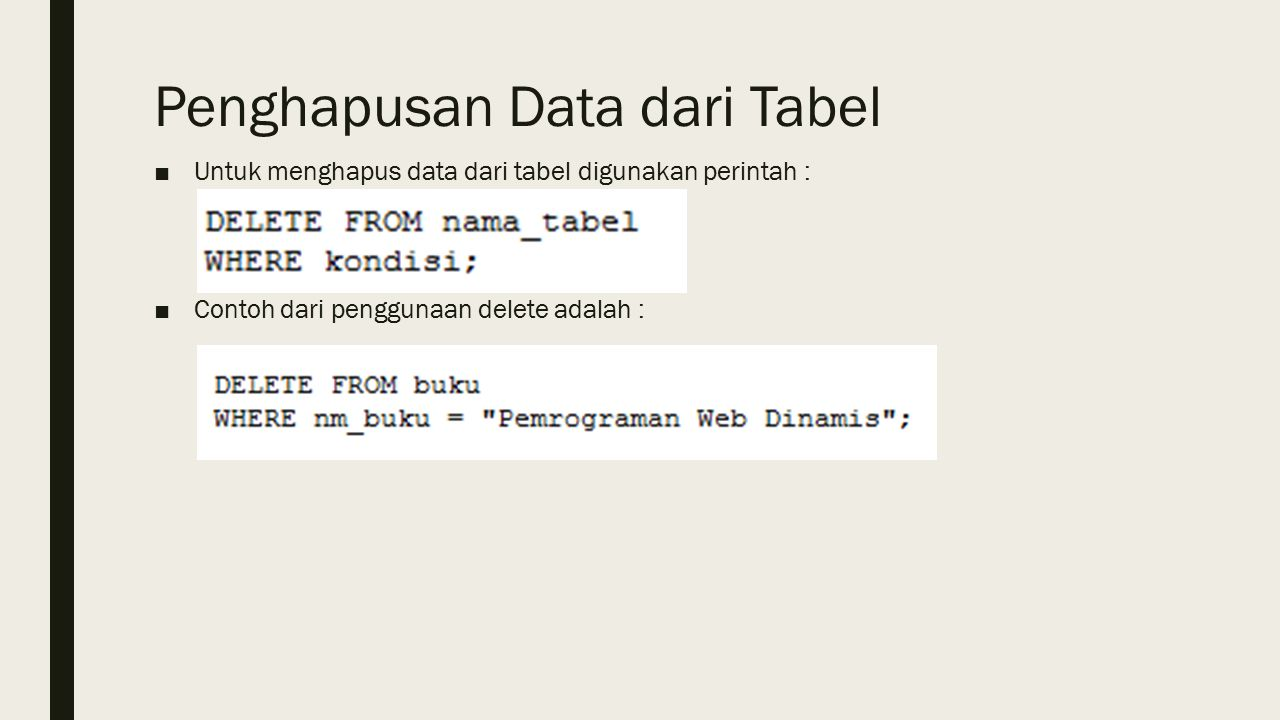 Penghapusan Data dari Tabel ■Untuk menghapus data dari tabel digunakan perintah : ■Contoh dari penggunaan delete adalah :