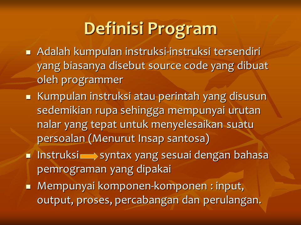 Definisi Program Adalah kumpulan instruksi-instruksi tersendiri yang biasanya disebut source code yang dibuat oleh programmer Adalah kumpulan instruks