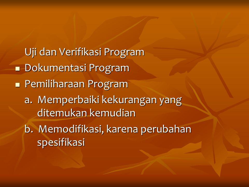 Uji dan Verifikasi Program Dokumentasi Program Dokumentasi Program Pemiliharaan Program Pemiliharaan Program a. Memperbaiki kekurangan yang ditemukan