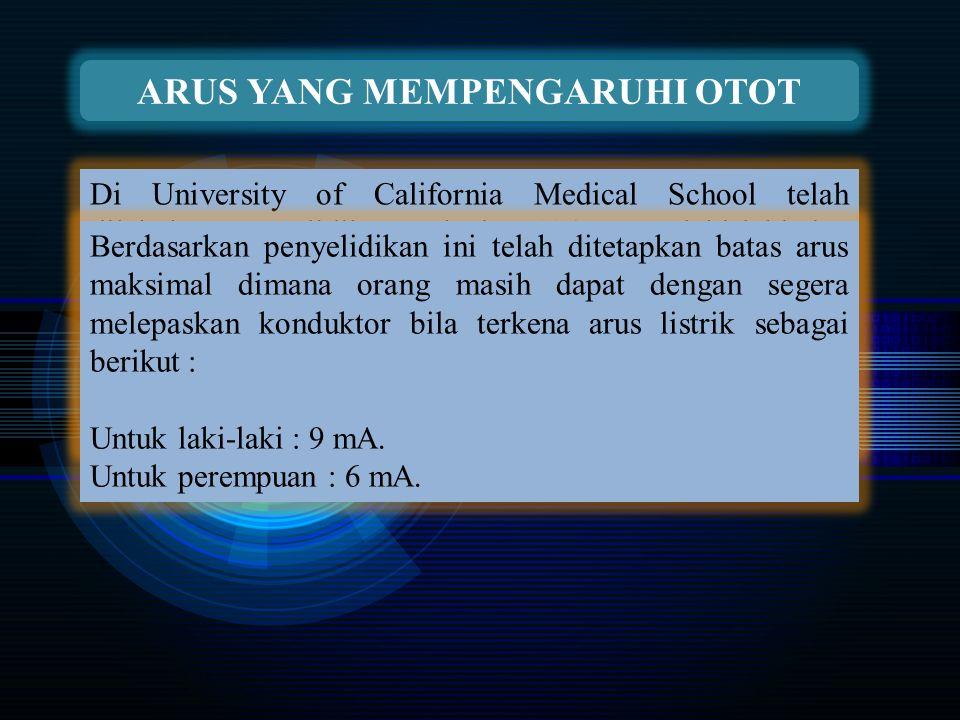 ARUS YANG MEMPENGARUHI OTOT Di University of California Medical School telah dilakukan penyelidikan terhadap 134 orang laki-laki dan 28 orang perempuan dan diperoleh angka rata-rata yang mempengaruhi otot sebagai berikut : Untuk laki-laki : 16 mA.