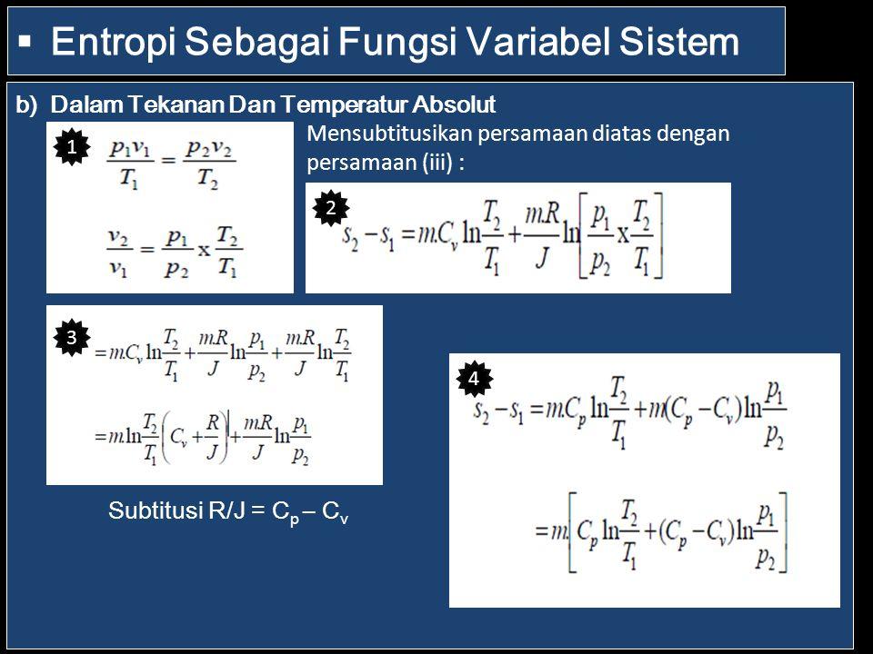  Entropi Sebagai Fungsi Variabel Sistem b)Dalam Tekanan Dan Temperatur Absolut Mensubtitusikan persamaan diatas dengan persamaan (iii) : Subtitusi R/J = C p – C v 1 2 3 4