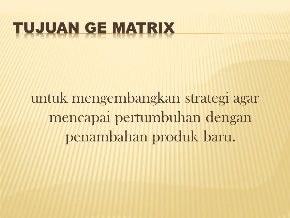 untuk mengembangkan strategi agar mencapai pertumbuhan dengan penambahan produk baru.