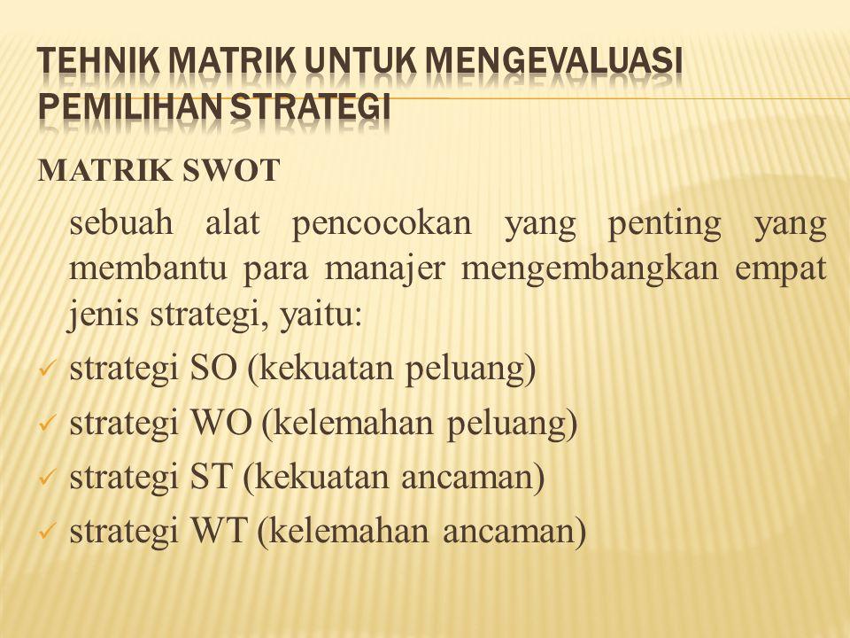 MATRIK SWOT sebuah alat pencocokan yang penting yang membantu para manajer mengembangkan empat jenis strategi, yaitu: strategi SO (kekuatan peluang) s