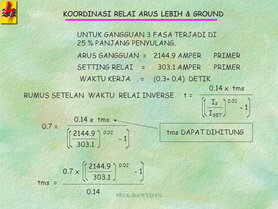 PRI.K dan WYD SN KOORDINASI RELAI ARUS LEBIH & GROUND NILAI SETELAN ARUS RELAI ARUS LEBIH SISI INCOMING 20 KV : I SET primer = 1.05 xI NOMINAL = 1.05