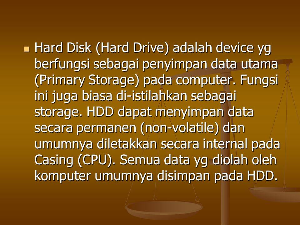Hard Disk (Hard Drive) adalah device yg berfungsi sebagai penyimpan data utama (Primary Storage) pada computer.