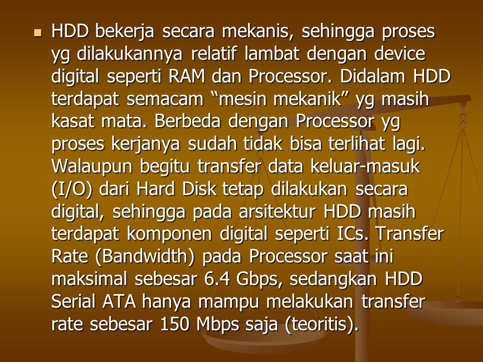 HDD bekerja secara mekanis, sehingga proses yg dilakukannya relatif lambat dengan device digital seperti RAM dan Processor.