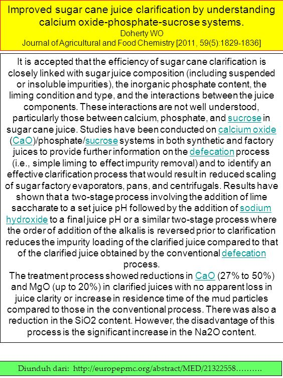 Improved sugar cane juice clarification by understanding calcium oxide-phosphate-sucrose systems. Doherty WO Journal of Agricultural and Food Chemistr