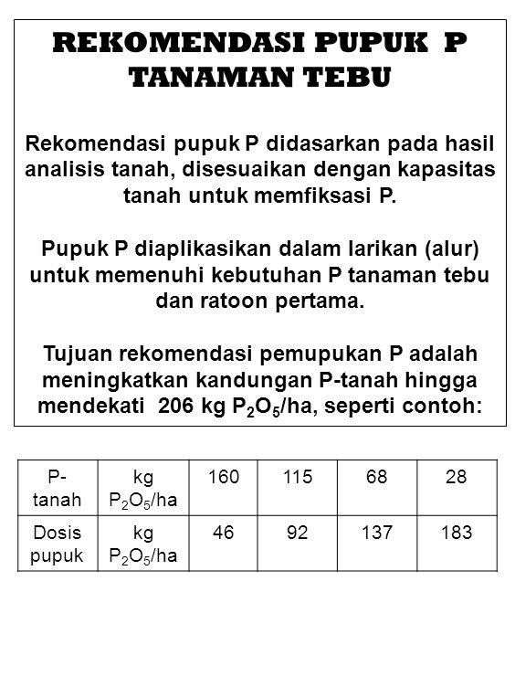 REKOMENDASI PUPUK P TANAMAN TEBU Rekomendasi pupuk P didasarkan pada hasil analisis tanah, disesuaikan dengan kapasitas tanah untuk memfiksasi P.