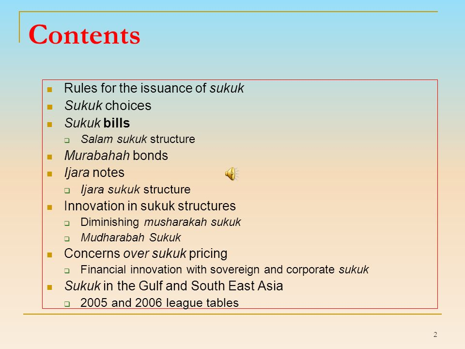 22 Salam sukuk structure IssuerSPVIslamic investors Payment against future delivery of assets Cash Certificate of participation Delivery of asset at maturity Surrender of certificate at maturity Reimbursement of cash plus a mark-up on maturity