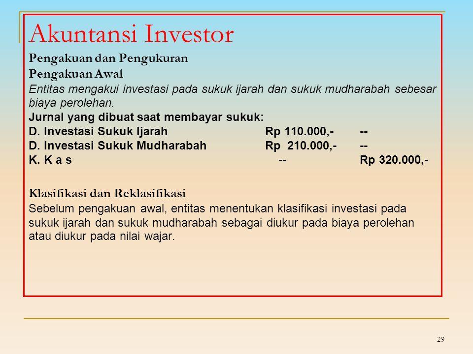 Bagi hasil yang menjadi hak pemilik sukuk mudharabah diakui sebagai pengurang pendapatan, bukan sebagai beban.