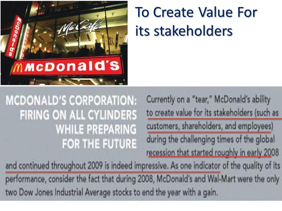 To Create Value For its stakeholders