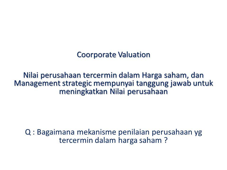 Coorporate Valuation Nilai perusahaan tercermin dalam Harga saham, dan Management strategic mempunyai tanggung jawab untuk meningkatkan Nilai perusaha