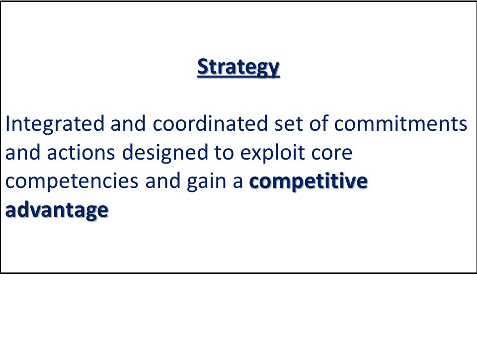 Strategy competitive advantage Integrated and coordinated set of commitments and actions designed to exploit core competencies and gain a competitive advantage
