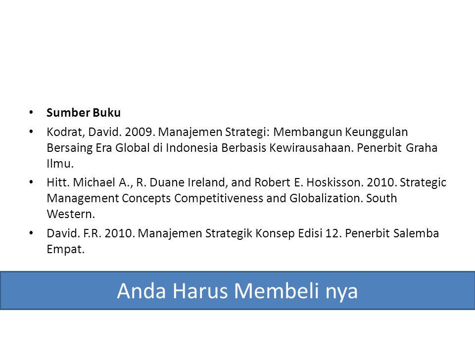 Sumber Buku Kodrat, David. 2009. Manajemen Strategi: Membangun Keunggulan Bersaing Era Global di Indonesia Berbasis Kewirausahaan. Penerbit Graha Ilmu