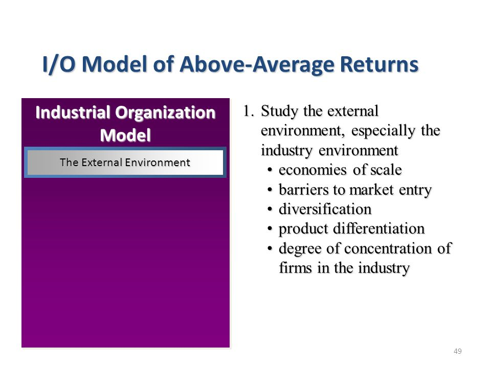 49 Industrial Organization Model I/O Model of Above-Average Returns 1.Study the external environment, especially the industry environment economies of scaleeconomies of scale barriers to market entrybarriers to market entry diversificationdiversification product differentiationproduct differentiation degree of concentration of firms in the industrydegree of concentration of firms in the industry The External Environment
