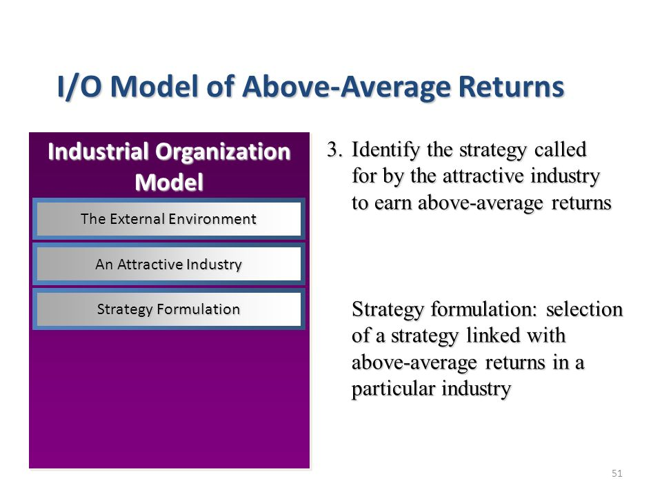 51 I/O Model of Above-Average Returns 3.Identify the strategy called for by the attractive industry to earn above-average returns Strategy formulation: selection of a strategy linked with above-average returns in a particular industry Industrial Organization Model The External Environment An Attractive Industry Strategy Formulation