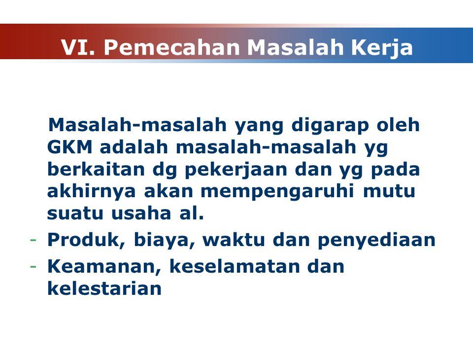 VI. Pemecahan Masalah Kerja Masalah-masalah yang digarap oleh GKM adalah masalah-masalah yg berkaitan dg pekerjaan dan yg pada akhirnya akan mempengar