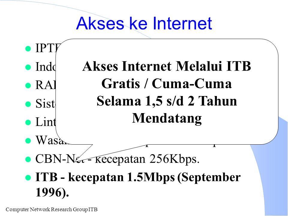 Computer Network Research Group ITB Akses ke Internet l IPTEK-NET kecepatan akses 64 Kbps. l IndoInternet kecepatan akses 256Kbps. l RADNet - kecepata