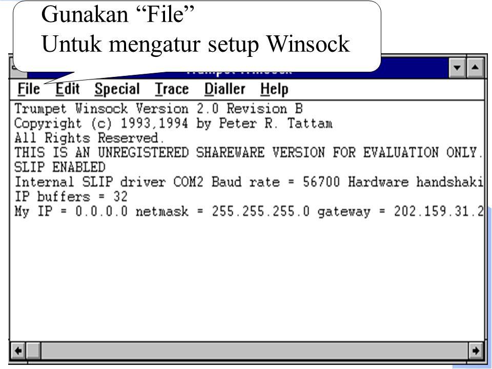"""Computer Network Research Group ITB Dial ke ISP Gunakan """"File"""" Untuk mengatur setup Winsock"""
