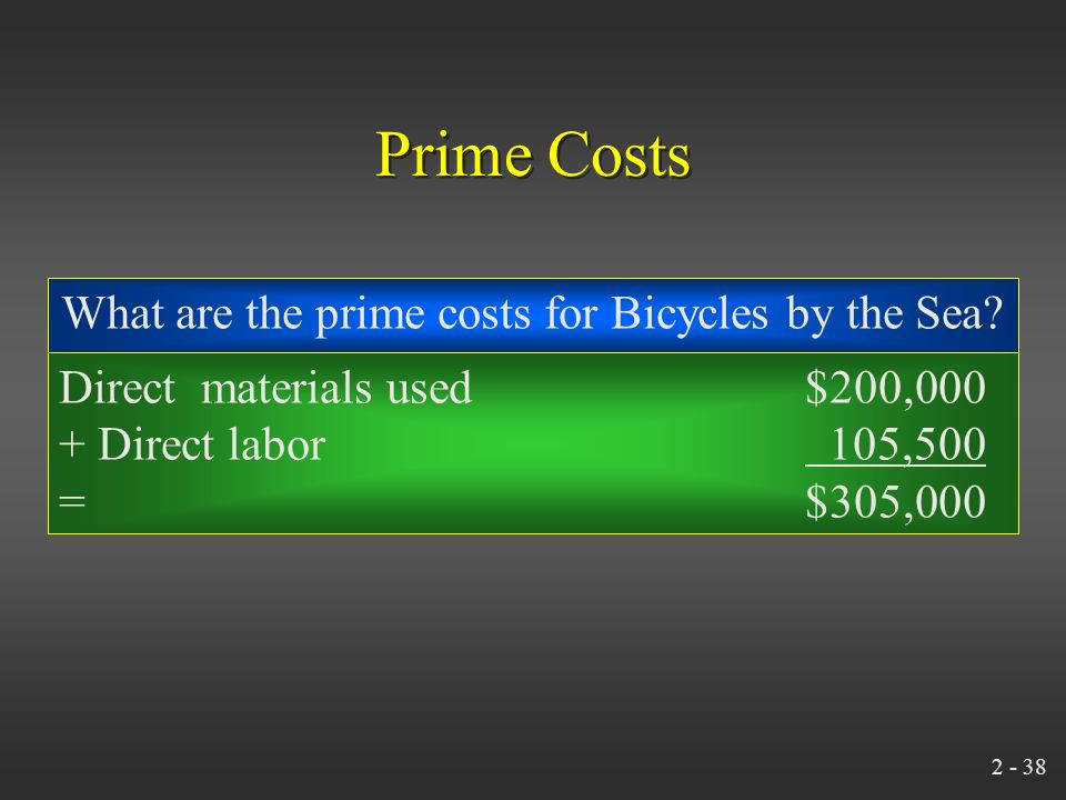 2 - 37 Prime Costs Direct Materials Direct Labor Prime Costs +=