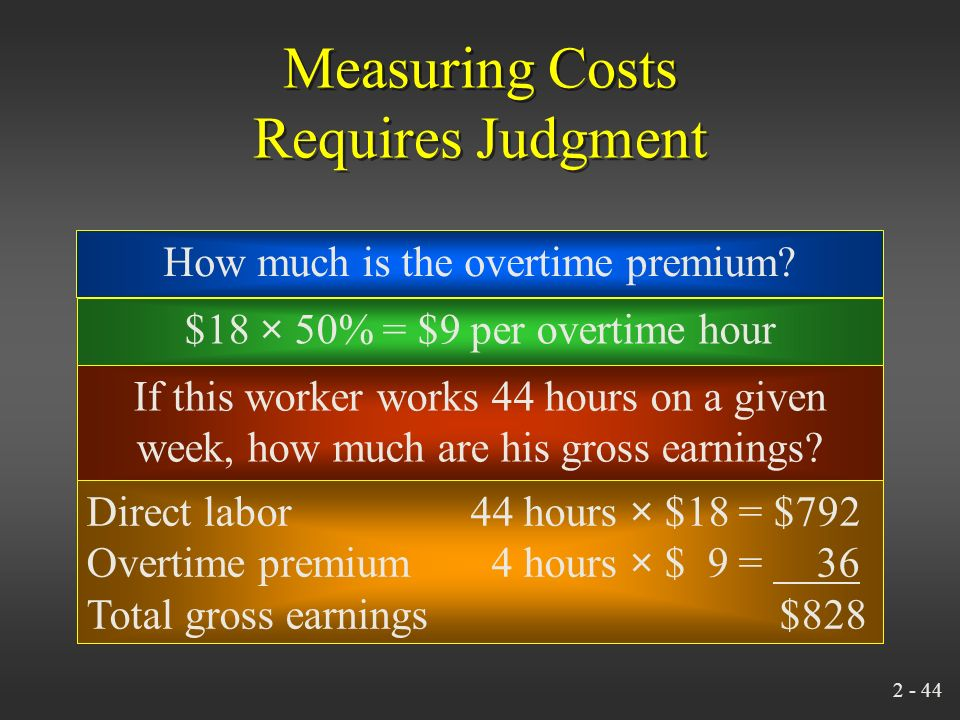 2 - 43 Measuring Costs Requires Judgment Overtime premium is usually considered part of overhead. Assume that a worker gets $18/hour for straight time