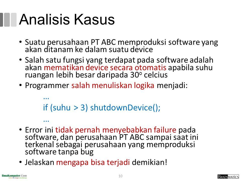 Analisis Kasus Suatu perusahaan PT ABC memproduksi software yang akan ditanam ke dalam suatu device Salah satu fungsi yang terdapat pada software adal