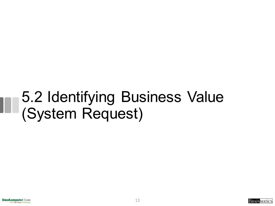 5.2 Identifying Business Value (System Request) 13
