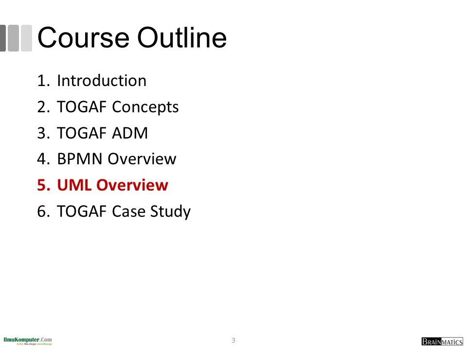 Course Outline 1.Introduction 2.TOGAF Concepts 3.TOGAF ADM 4.BPMN Overview 5.UML Overview 6.TOGAF Case Study 3