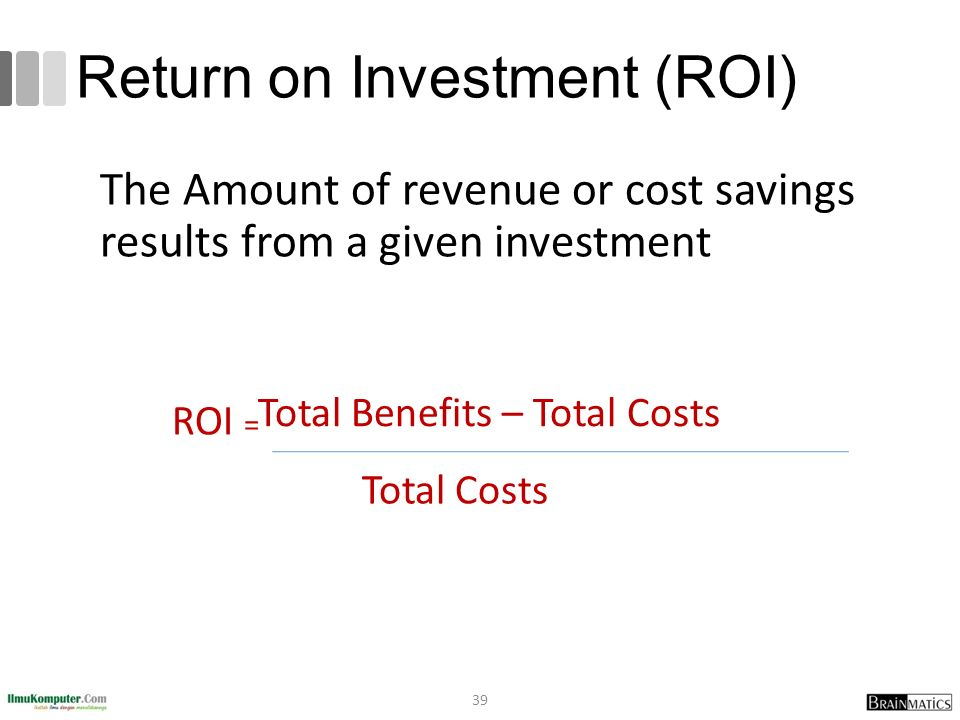 Return on Investment (ROI) The Amount of revenue or cost savings results from a given investment ROI = Total Benefits – Total Costs Total Costs 39