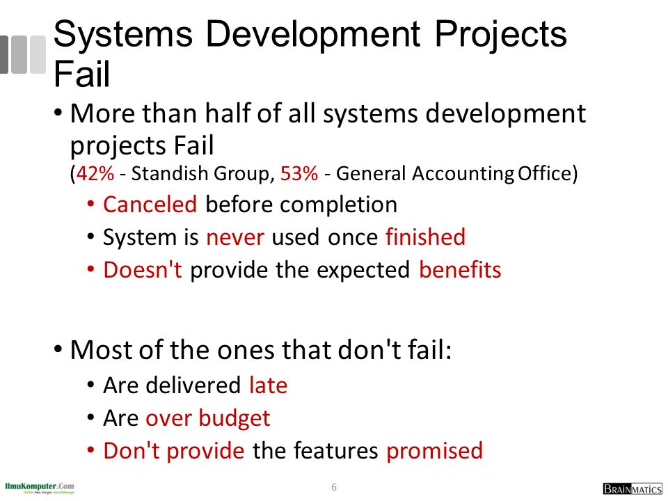 Systems Development Projects Fail More than half of all systems development projects Fail (42% - Standish Group, 53% - General Accounting Office) Canceled before completion System is never used once finished Doesn t provide the expected benefits Most of the ones that don t fail: Are delivered late Are over budget Don t provide the features promised 6