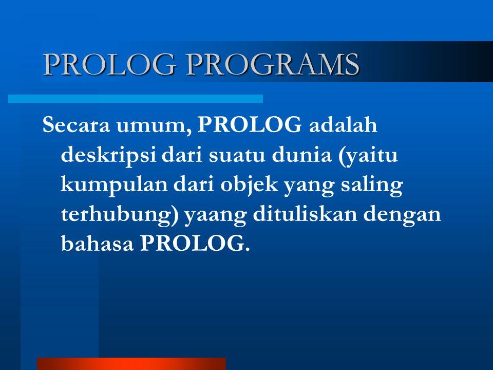 PROLOG PROGRAMS Secara umum, PROLOG adalah deskripsi dari suatu dunia (yaitu kumpulan dari objek yang saling terhubung) yaang dituliskan dengan bahasa PROLOG.