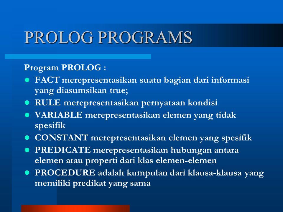 PROLOG PROGRAMS Program PROLOG : FACT merepresentasikan suatu bagian dari informasi yang diasumsikan true; RULE merepresentasikan pernyataan kondisi VARIABLE merepresentasikan elemen yang tidak spesifik CONSTANT merepresentasikan elemen yang spesifik PREDICATE merepresentasikan hubungan antara elemen atau properti dari klas elemen-elemen PROCEDURE adalah kumpulan dari klausa-klausa yang memiliki predikat yang sama