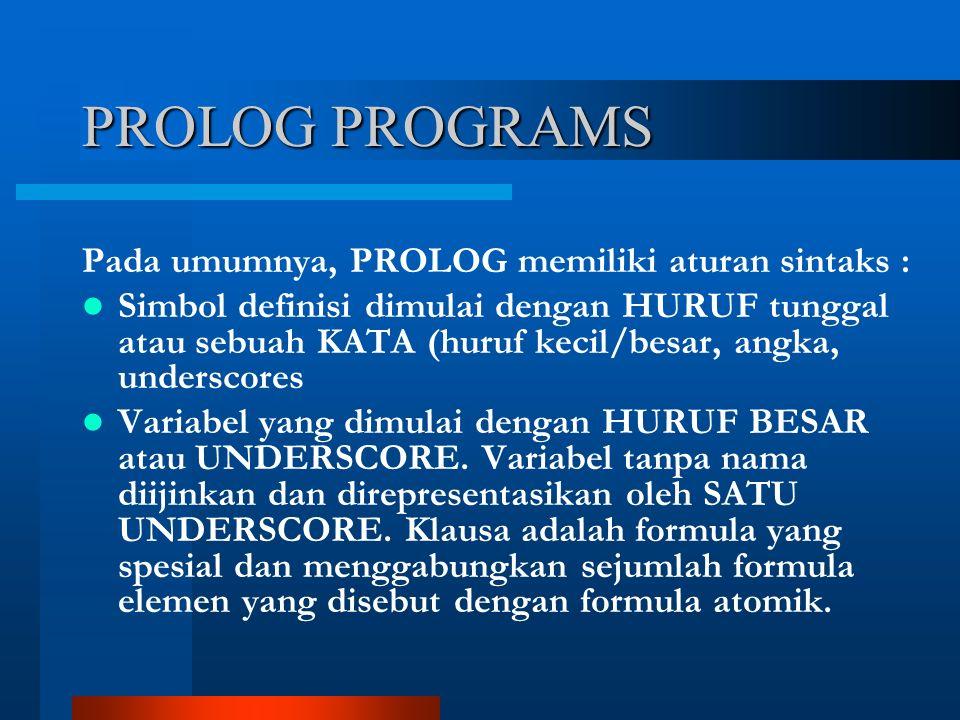 PROLOG PROGRAMS Pada umumnya, PROLOG memiliki aturan sintaks : Simbol definisi dimulai dengan HURUF tunggal atau sebuah KATA (huruf kecil/besar, angka, underscores Variabel yang dimulai dengan HURUF BESAR atau UNDERSCORE.