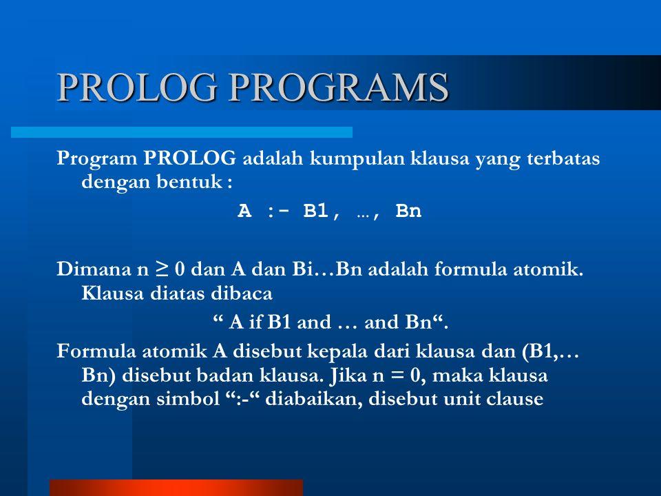 PROLOG PROGRAMS Program PROLOG adalah kumpulan klausa yang terbatas dengan bentuk : A :- B1, …, Bn Dimana n ≥ 0 dan A dan Bi…Bn adalah formula atomik.