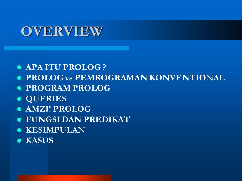 OVERVIEW APA ITU PROLOG . PROLOG vs PEMROGRAMAN KONVENTIONAL PROGRAM PROLOG QUERIES AMZI.