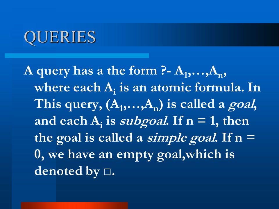 QUERIES A query has a the form ?- A 1,…,A n, where each A i is an atomic formula.
